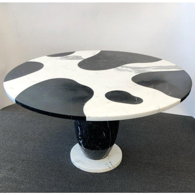 Stone 1980s Italian Carrara and Black Marble Dining Table For Sale - Image 7 of 8