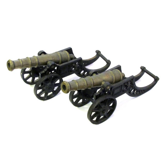 English Victorian Brass Ornamental Signal Cannons on Cast Iron Carriages - a Pair For Sale - Image 4 of 9