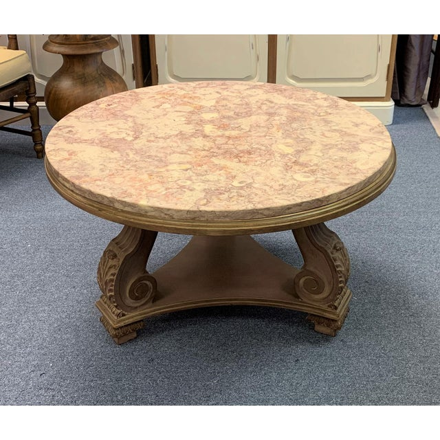 1950s Hollywood Regency Convertible Marble Top Cocktail Table For Sale - Image 11 of 13