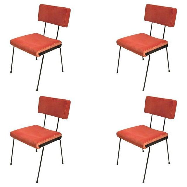 Set of Four Italian, Velvet-Upholstered Iron Chairs For Sale - Image 4 of 4