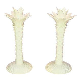 Vintage Fitz & Floyd Palm Tree Candleholders - A Pair