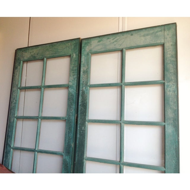 Vintage painted french doors 12 pane glass pair chairish for 12 pane door