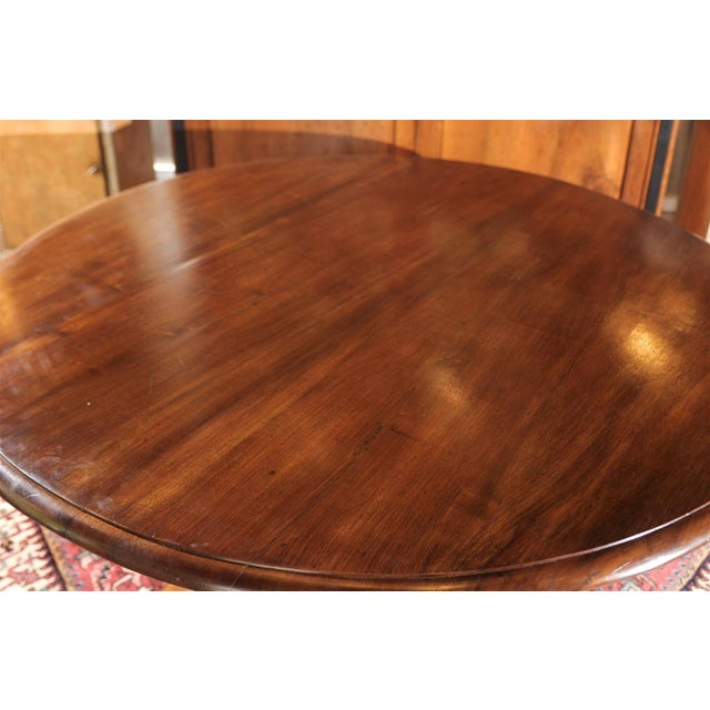 Early 20th Century Italian Round Walnut Pedestal Dining Table with Tilt-Top and Bronze Accents For Sale - Image 5 of 10