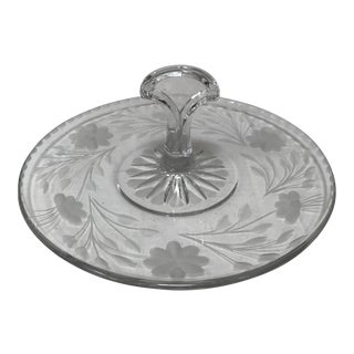Art Deco Handled Etched Glass Macaroons Sweets Server For Sale