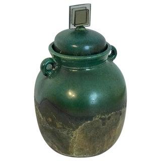 Raku Pottery Lidded Vase, by Tony Evans For Sale