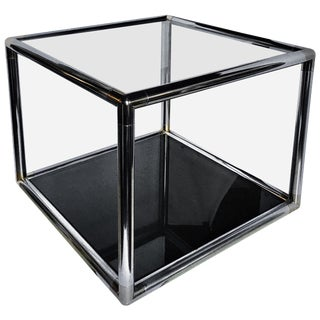 Mid-Century Modern Metal and Glass Square Coffee/Side Table For Sale