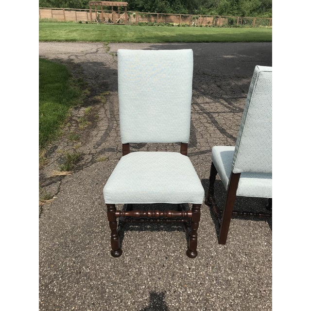 Mid 20th Century White Upholstered Baroque Walnut Dining Chairs - Set of 6 For Sale - Image 5 of 12