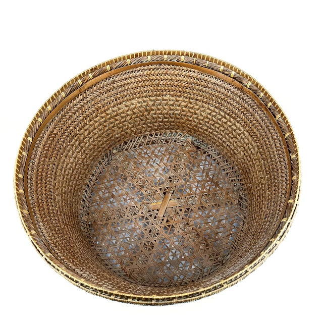 Chinese Antique Large Woven Empress Basket For Sale - Image 11 of 13