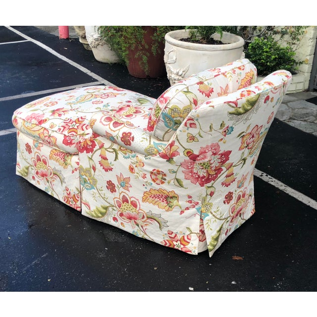 Fine Designer Floral Upholstered Chaise Lounge For Sale - Image 4 of 5