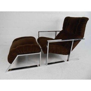 Mid-Century Modern Lounge Chair With Ottoman After Milo Baughman Preview