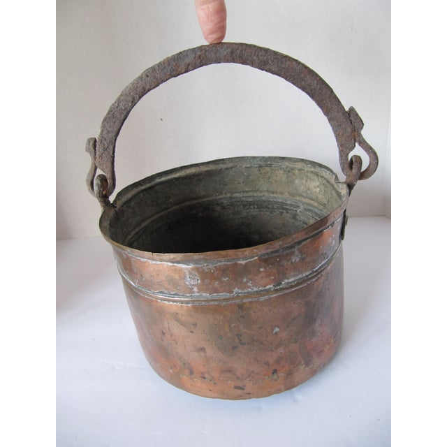French Provincial Antique Handmade Copper Pot With Iron Handle For Sale - Image 3 of 8