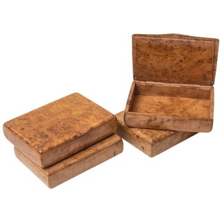 Birch Wood Cigarette Cases - Set of 4 For Sale