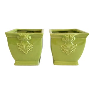 1950s Hollywood Regency Celadon Ceramic Cache Pots - a Pair For Sale