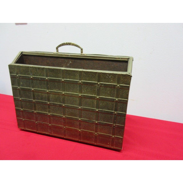 Vintage Brass Hammered Gothic Magazine Rack Stand Box For Sale - Image 4 of 11