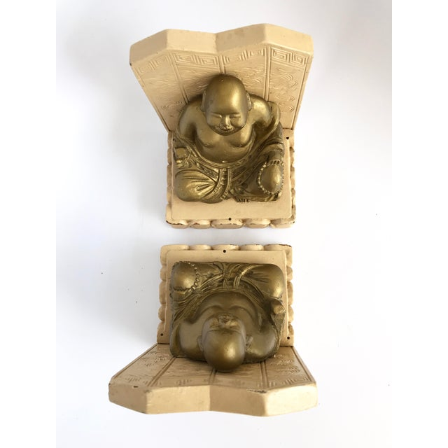 Vintage Chinese Smiling Buddha bookends - A Pair For Sale In Miami - Image 6 of 11