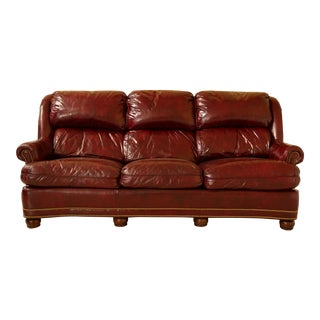 Hancock & Moore Burgundy Leather Sofa With Tack Head Trim For Sale