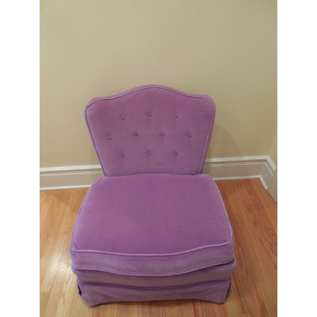 Lilac Velvet Vintage Chairs - A Pair For Sale In Chicago - Image 6 of 8