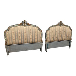 Vintage French Country Louis XVI Green Striped Ornate Twin Headboards - A Pair For Sale