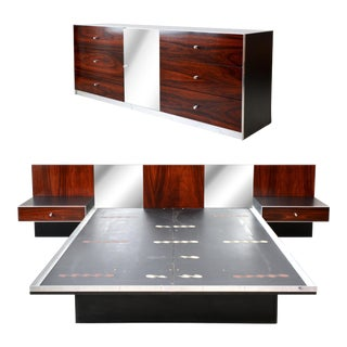 Mid Century Modern Rosewood and Chrome Platform Bed and Dresser For Sale