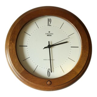 Vintage Wooden Framed Working Kitchen Wall Clock by Junghans/Germany For Sale