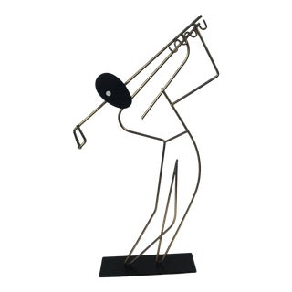 Vintage Frederic Weinberg Metal Wire Golfer Sculpture For Sale
