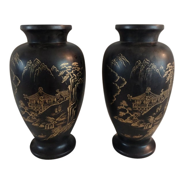 1940s Japanese Ceramic Satsuma Vases - a Pair For Sale
