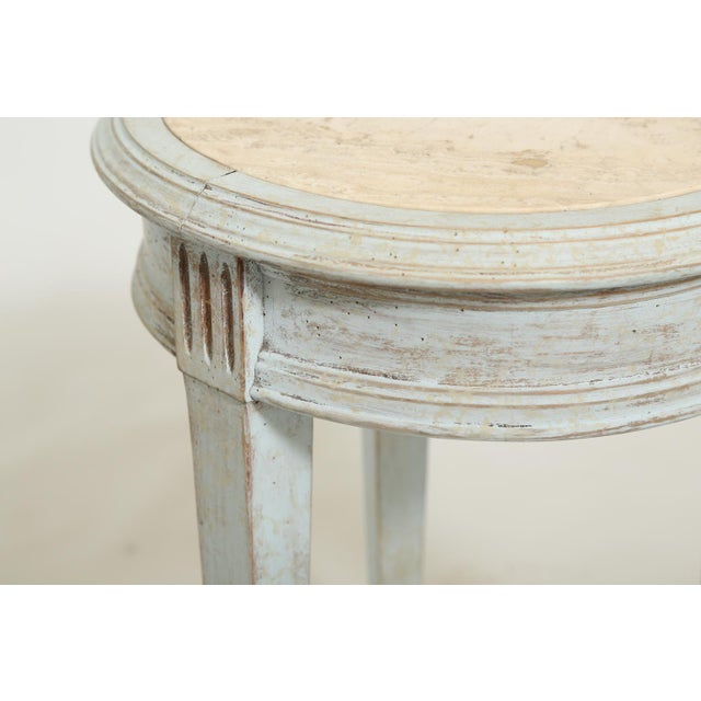 Accent Table With Travertine Insert For Sale In West Palm - Image 6 of 8