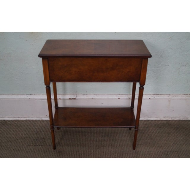 Yorkshire House Small Burl Wood 2 Drawer Console Table For Sale - Image 4 of 10