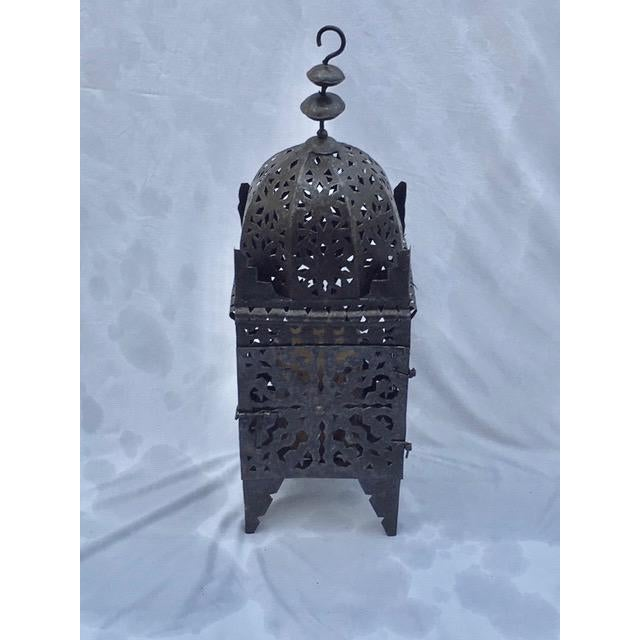 1960s 1960s Moroccan Iron Metal Work Candle Lantern For Sale - Image 5 of 5