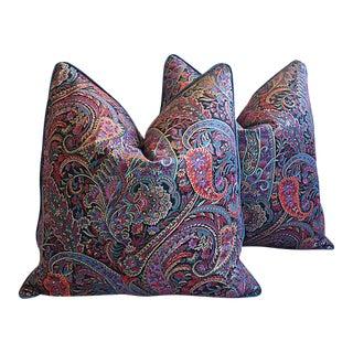 Custom Tailored English Paisley & Velvet Feather/Down Pillows - Pair