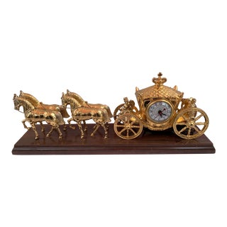 1940's United Clock Corp Model # 640 Royal Horse and Carriage Electric Mantle Clock For Sale