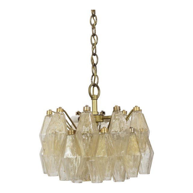 Gold Flecked Glass Polyhedral Chandelier by Carlo Scarpa for Venini For Sale