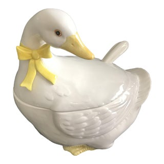 1983 Vintage Otagiri Japan Ceramic White Duck Tureen For Sale