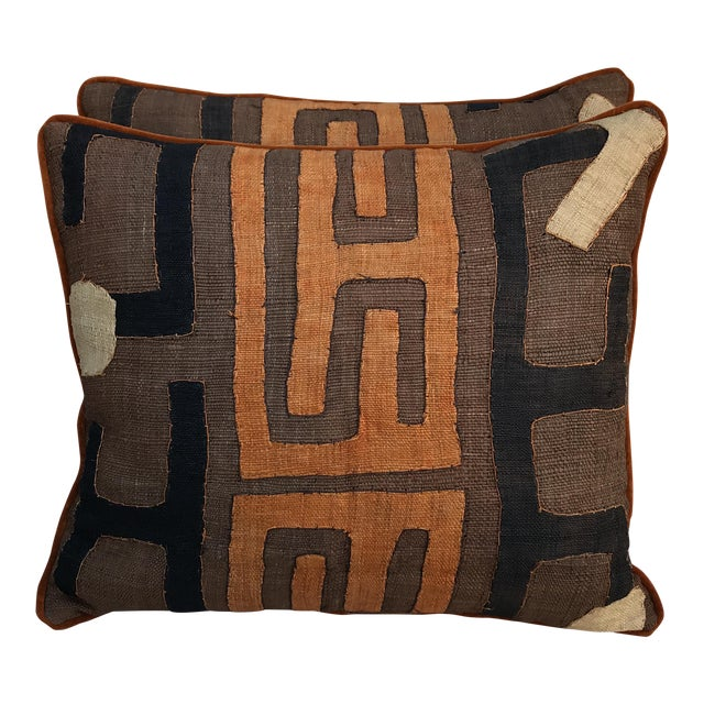 African Kuba Cloth Pillows - A Pair - Image 1 of 5