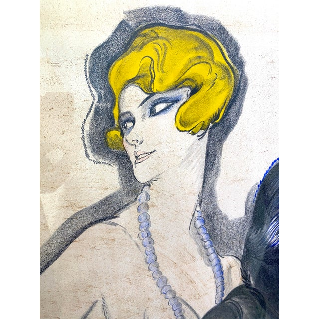 """Antique 1926 Multimedia Poster by Jean Gabriel Domerge """"Alice Soulie"""" Watercolor Gouache Charcoal on Paper With Christie's Coa For Sale - Image 12 of 13"""