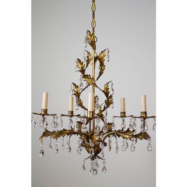 1940s Italian Five Light Gold Leaf Chandelier With Crystals For Sale - Image 5 of 9