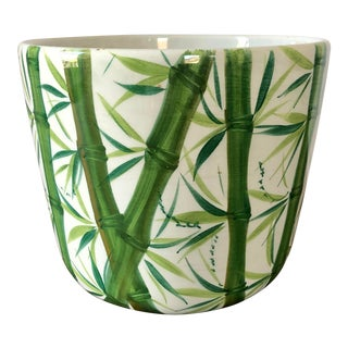 White Green Italian Pottery Bamboo Planter For Sale