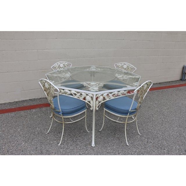 Beautiful detailed fruit accent patio dining set in vintage used condition.. Original seat cushions in good condition.....