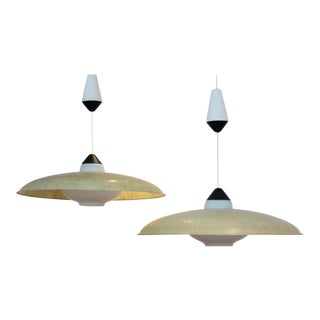Pair of Philips Fiberglass and Opal Glass Pendant Lamps by Louis Kalff, 1950s For Sale
