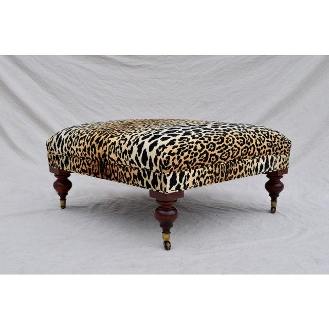 Brass Henredon Leopard Velvet Cocktail Ottoman For Sale - Image 7 of 9