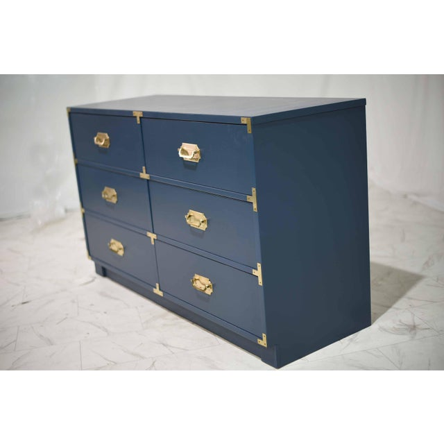 1970s Blue Six Drawer Campaign Dresser or Chest - Newly Painted For Sale In Chicago - Image 6 of 12