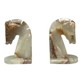 Marble Horse Bookends - a Pair For Sale