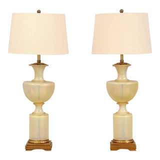 Italian Vintage Gold Flecked Murano Lamps - a Pair For Sale