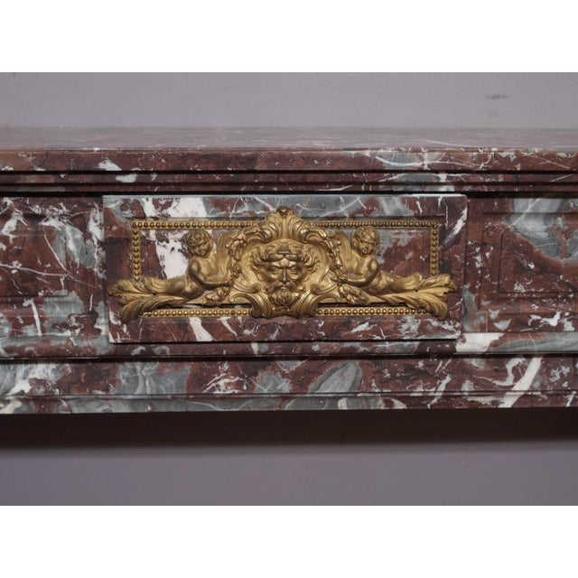 Louis XVI Antique French Bronze Mounted Marble Mantle For Sale - Image 3 of 5