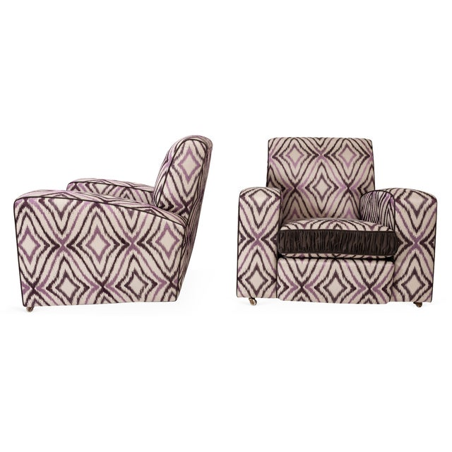 Art Deco Art Deco Ikat Silk Fabric Club Chairs - A Pair For Sale - Image 3 of 4