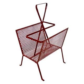 Mid-Century Modern Vintage Red Wire Mesh Magazine Rack For Sale