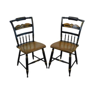 Hitchcock Eagle Painted Black & Maple Pair Side Chairs For Sale