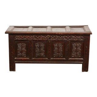 Late 18th Century English Carved Oak Cassone Trunk For Sale