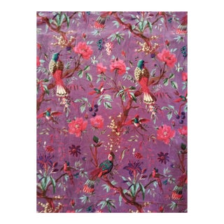 Purple Chinoiserie Cotton Velvet Fabric - 13 Yards