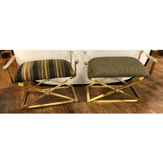 Mid Century Modern Style Pair of Ron Seff Gunmetal Brass & Chrome Benches/Stools Preview